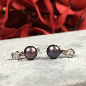 Vintage Jewelry - Orfevrerie Wiskemann Peacock Black Pearl Earrings